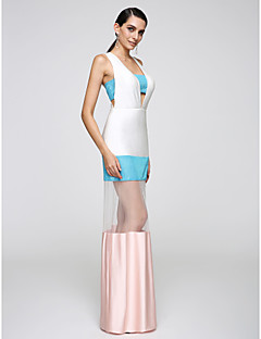 Formeller Abend Kleid Eng anliegend V-Ausschnitt Boden-Länge Jersey mit