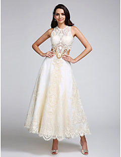 A-line Wedding Dress Ankle-length Jewel Lace / Satin / Tulle with Appliques / Lace