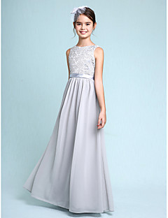 2017 Lanting Bride® Floor-length Chiffon / Lace Junior Bridesmaid Dress Sheath / Column Bateau with Lace