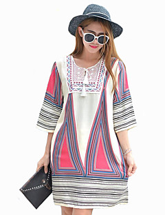 Women's Casual/Daily Street chic Loose Dress,Print Round Neck Above Knee ¾ Sleeve Blue / White Cotton Spring / Fall