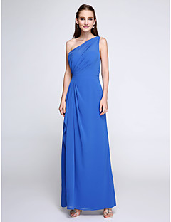 2017 Lanting Bride® Ankle-length Chiffon Elegant Bridesmaid Dress - Sheath / Column One Shoulder with Side Draping