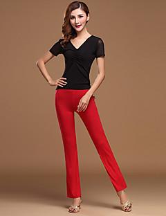 Latin Dance Outfits Women's Training Cotton / Chinlon 2 Pieces Fuchsia / Purple / Burgundy / Light Red Top /  Pant