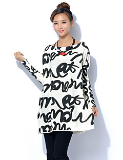 Women's Plus Size / Casual/Daily Boho / Street chic Long Pullover,Letter White / Beige / Gray Round Neck Long SleeveWool