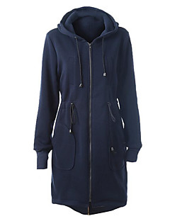 Women's Casual/Daily Street chic Long Hoodies,Solid Blue Hooded Long Sleeve Cotton Fall / Winter Thick