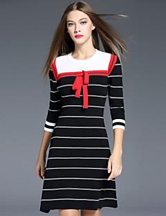 i-yecho Frauen Vintage Mantel Rundhals Gehen knielangen Ärmel schwarz Polyester / Nylon dressstriped