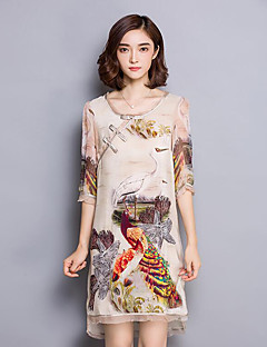 Women's Plus Size Vintage Loose Dress,Print Round Neck Asymmetrical ¾ Sleeve Beige Silk Fall