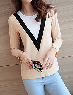 Women's Casual/Daily Simple Spring / Fall T-shirt,Solid Round Neck Long Sleeve Beige / Green / Orange Cotton Medium