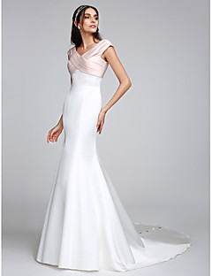 Lanting noiva Lanting trompete / sereia vestido de casamento de trem varrer / escova v-neck cetim stretch