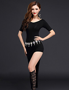 Belly Dance Dresses Women Modal Split Front 2 Pieces Black / Light Green / Light Gray / Coffee  Short Sleeve