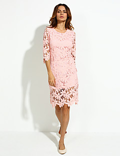 Sheath / Lace Dress,Solid Round Neck Knee-length ½ Length Sleeve Pink Cotton Spring Mid Rise Micro-elastic