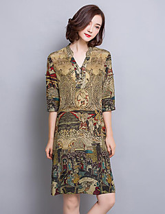 Women's Plus Size Vintage Sheath Dress,Print V Neck Above Knee ¾ Sleeve Brown Silk Fall