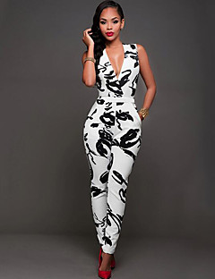 Women's Print Slim Sexy Jumpsuits,Vintage Deep V Sleeveless