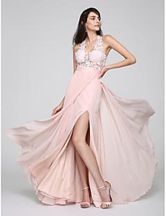 TS Couture נשף ערב רישמי שמלה - פורקל מעטפת \ עמוד קולר עד הריצפה שיפון עם תחרה שסע קדמי