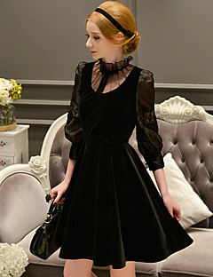Women's Going out / Party/Cocktail Vintage / Sophisticated A Line Dress,Solid Stand Above Knee ¾ Sleeve