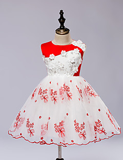 A-line Knee-length Flower Girl Dress - Satin / Tulle Sleeveless Jewel with Embroidery / Pattern / Print / Sash / Ribbon