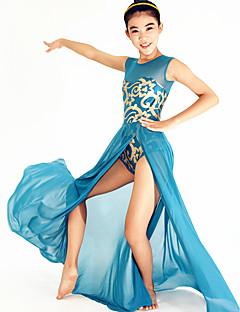 Dança Latina Vestidos Mulheres / Crianças Actuação Elastano / Lantejoulas Flor(es) / Lantejoulas 2 Peças Sem Mangas NaturalVestidos /