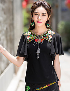 Γυναικεία T-shirt Εξόδου / Καθημερινά Χαριτωμένο / Κομψό στυλ street Κέντημα,Κοντομάνικο Λαιμόκοψη V Καλοκαίρι / Φθινόπωρο Οπάκ Βαμβάκι