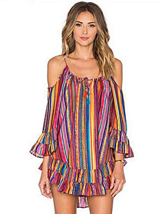 Women's Beach Boho Chiffon Dress,Print Off Shoulder Above Knee Long Sleeve Orange Polyester Summer