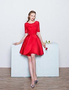 Knee-length Lace / Satin Bridesmaid Dress Ball Gown Scoop with Bow(s) / Lace
