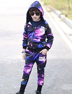 Boy's Cotton Spring/Autumn Fashion Hip-hop Print Tracksuit Long Sleeve Coat And Hallen Pants Sport Suit