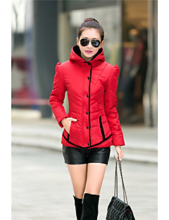 Women's Patchwork Blue / Red / Black / Green Down Coat,Simple Hooded Long Sleeve