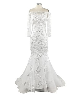 Trumpet / Mermaid Wedding Dress Floor-length Bateau Lace / Satin / Tulle with Appliques