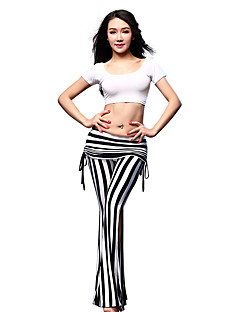 Belly Dance Outfits Women's Training Modal 2 Pieces Black / White / Zebra Belly Dance Short Sleeve Natural Top / Pants