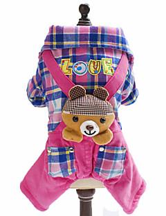 犬用品 ジャンプスーツ 犬用ウェア 冬 春/秋 格子柄 アニマル ブリティッシュ ファッション ブルー ピンク