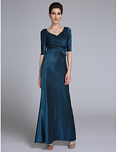 2017 Lanting Bride® Trumpet / Mermaid Mother of the Bride Dress Ankle-length Half Sleeve Jersey with Criss Cross