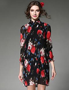AOFULI Vintage Fashion Women Dress Elegant Print Chiffon Pleated Stand Nack Long Sleeve Plus SIze Dress