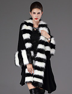Women's Casual/Daily Street chic Fur CoatStriped Stand Long Sleeve Winter Black / Purple Faux Fur Thick