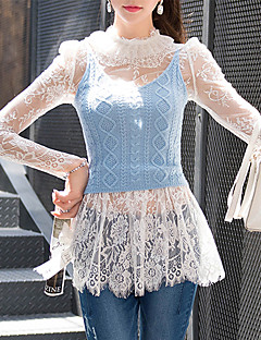 DABUWAWA® Damen Rundhalsausschnitt Lange Ärmel Shirt & Bluse Weiß-D15CBS035