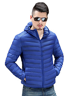 男性用 レギュラー ダウン コート,ポリエステル プレイン 長袖