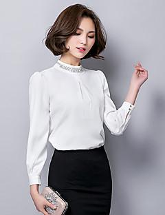 Mulheres Blusa Formal / Trabalho Simples / Fofo Primavera / Outono,Sólido Branco / Preto Poliéster Decote Redondo Manga Longa Fina