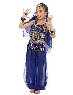Belly Dance Outfits Children's Performance Chiffon Polyester Gold Coins 6 Pieces Fuchsia / Light Blue / Purple / Royal