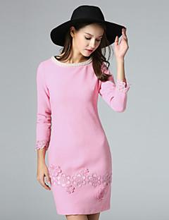 klimeda kvinders afslappet / daglig sød skift kjole, broderet rund hals over knæet ¾ ærme blå / pink polyester falde