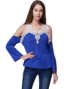 T-shirt Da donna Casual Sensuale Estate,Tinta unita A V scollato Cotone / Elastene Blu / Rosso / Nero / Grigio Manica lunga Sottile