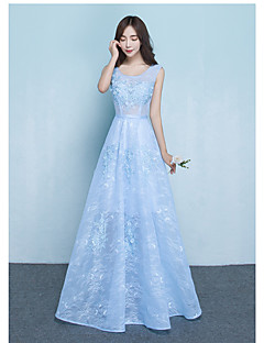 Floor-length Lace Bridesmaid Dress - Elegant A-line Jewel with Sash / Ribbon