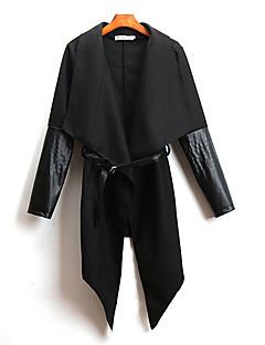 Vrouwen Sexy Lente Cloak / Capes,Casual/Dagelijks Effen / Patchwork Overhemdkraag Lange mouw Rood / Zwart PU / Nylon Ondoorzichtig