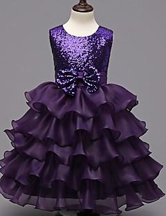Plesové šaty Ke kolenům Šaty pro květinovou družičku - Organza Bez rukávů Klenot s Vrstvy