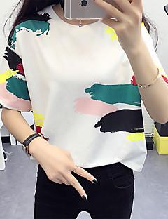 Nais- Lyhythihainen Ohut Pyöreä kaula-aukko Puuvilla Kesä Yksinkertainen Rento/arki T-paita,Painettu Monivärinen