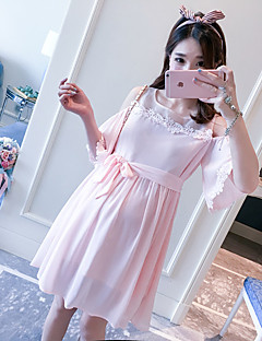 Maternity Casual/Daily Simple Loose Dress,Solid Strap Above Knee Short Sleeve Pink Others Summer Micro-elastic Opaque