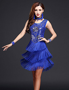 Latin Dance Dresses Women's Performance Chinlon / Milk Fiber Paisley Sequins / Tassel(s) 4 Pieces Outfits Dance Costumes