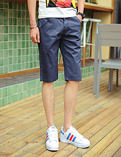 Men's Solid Casual Shorts,Cotton / Polyester Black / Blue / Brown / Gray