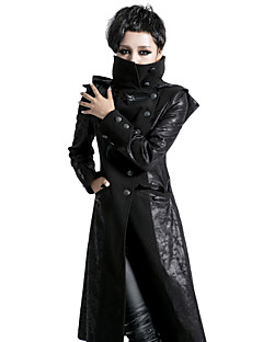 punk rave y-420 punk zwarte magere vintage vrouw lange jas met capuchon