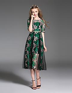 es dannuo kvinders gå ud simpel en linje / blonde kjole, geometriske rund hals midi kort ærme sommer grøn polyester