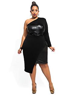 Women's Club Sexy Bodycon Dress,Solid One Shoulder Asymmetrical Long Sleeve Black / Green Polyester / Spandex Summer