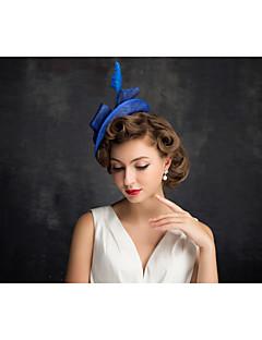 Women's Feather / Flax / Net Headpiece-Special Occasion Fascinators 1 Piece
