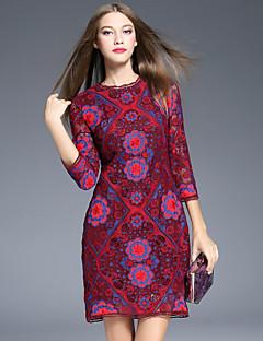Damen Hülle Kleid-Ausgehen Retro Blumen Rundhalsausschnitt Übers Knie ¾-Arm Rot Polyester Frühling Mittlere Hüfthöhe Unelastisch Mittel