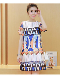 Maternity Casual/Daily Simple Loose Dress,Print Crew Neck Above Knee Short Sleeve White Polyester Summer